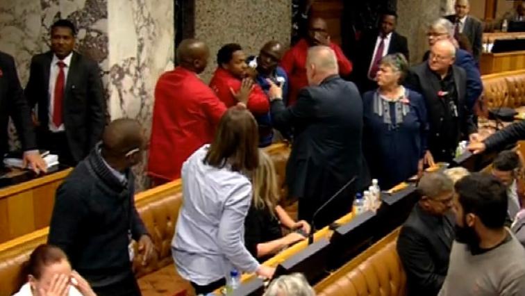 Scuffle in parliament.