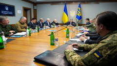 Ukraine President chairs meeting with military forces.
