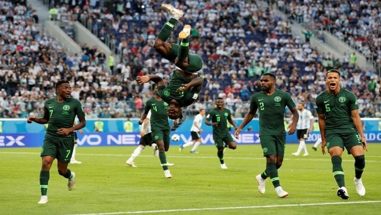 Nigeria's Victor Moses celebrates scoring