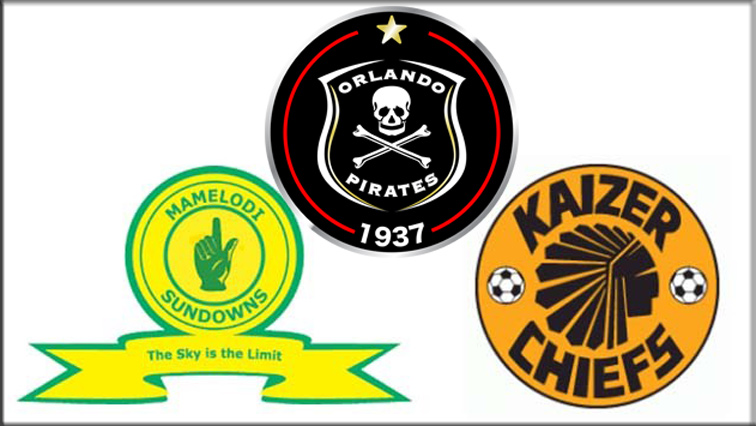 Mamelodi Sundowns, Kaizer Chiefs and Orlando Pirates emblems.