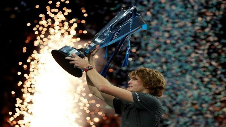 Alexander Zverev celebrates his victory.