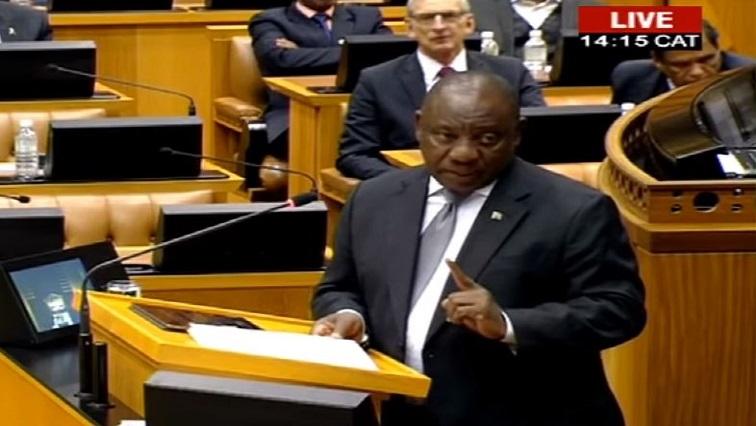 President Cyril Ramaphosa in parliament.