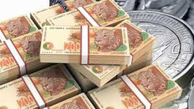 Stacks of R200 notes