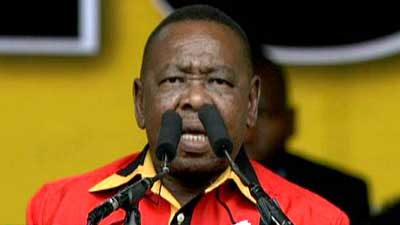Blade Nzimande wearing SACP top