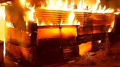A burning shack