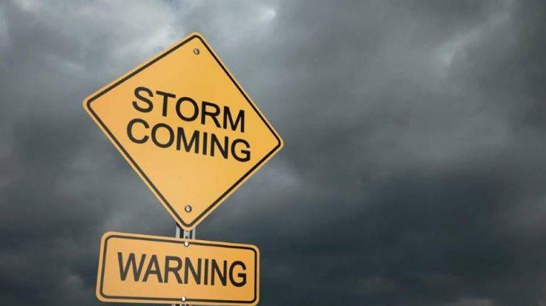 Storm coming warning sign