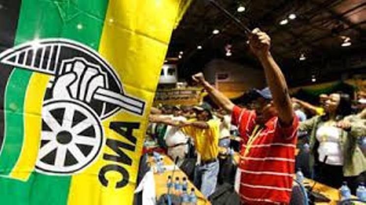 ANC delegates and the party flag.