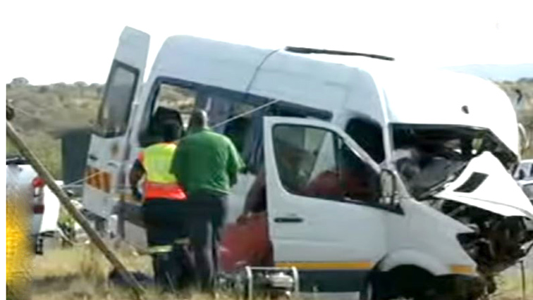 The mangled taxi involved in the crash