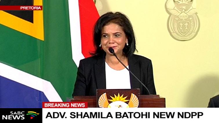 Advocate Shamila Batohi addressing the media