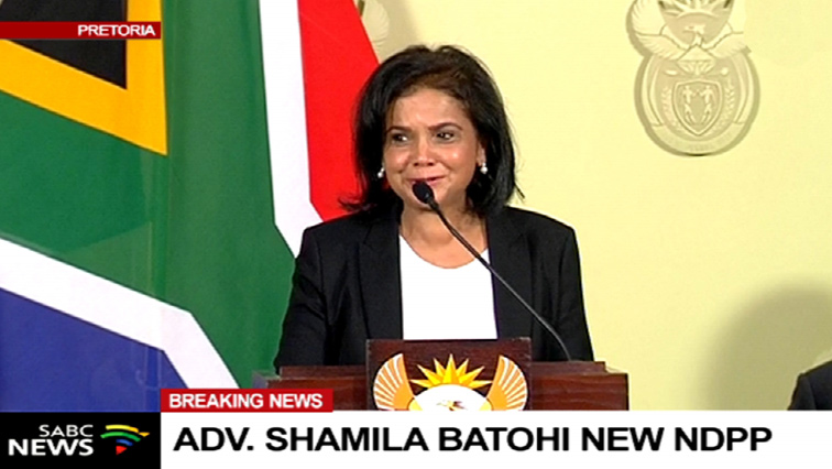 Shamila Batohi addressing media in Pretoria.