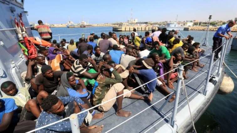 African Migrants on a boat