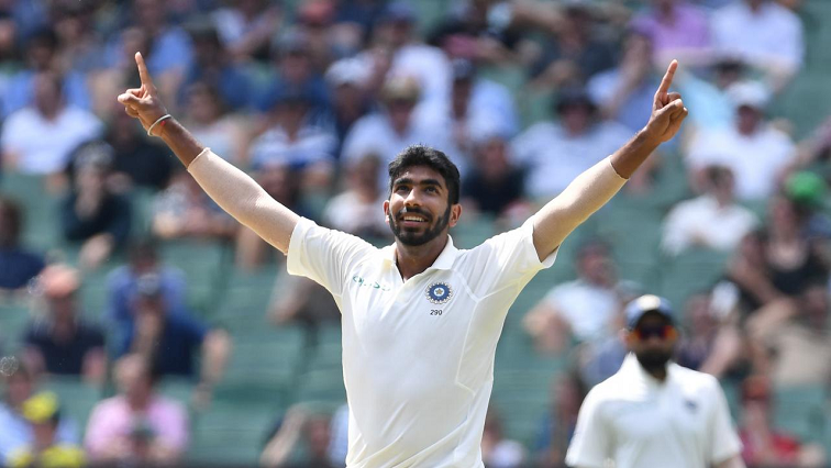 India's Jasprit Bumrah celebrates after taking a wicket