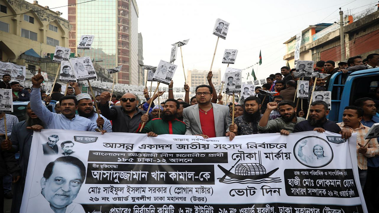 Supporters of Awami League at election campaign