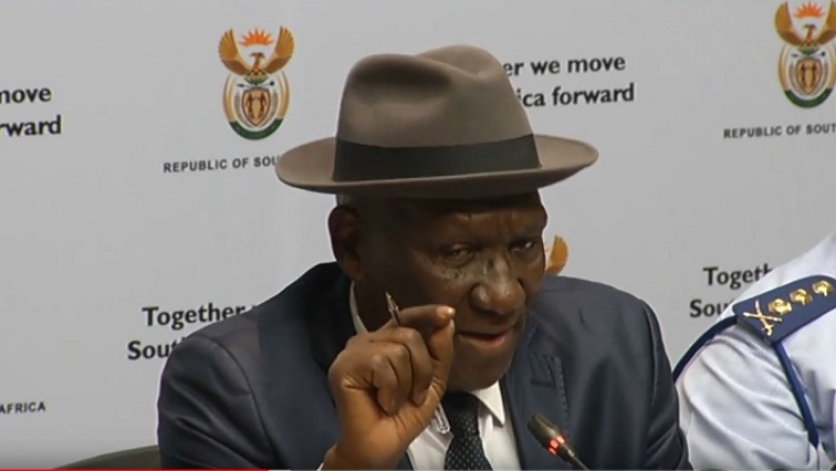 Bheki Cele addressing the media