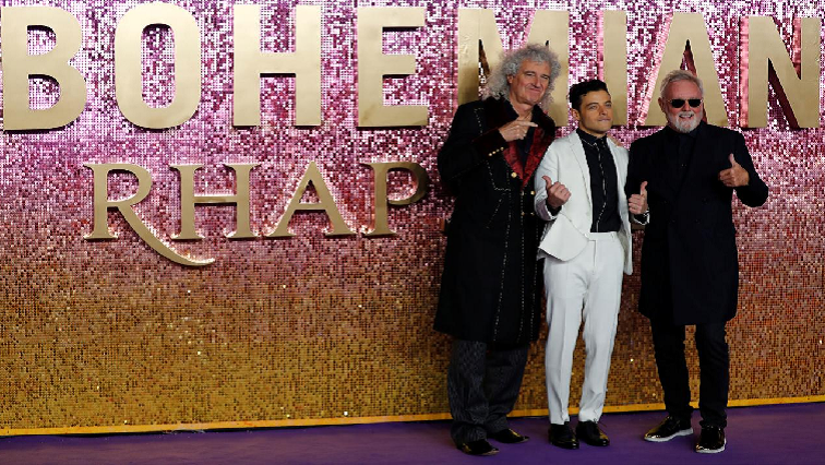 Bohemian Rhapsody movie lead actor Rami Malek and members of Queen Roger Taylor and Brian May.
