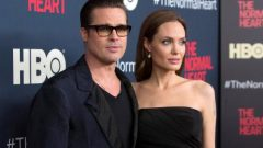 """Actors Brad Pitt and Angelina Jolie attend the premiere of """"The Normal Heart"""" in New York."""