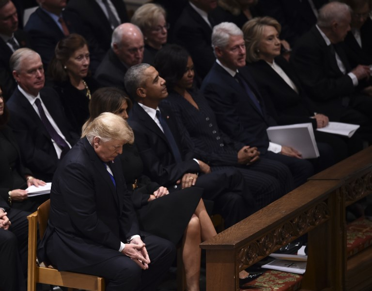 Former presidents and their spouses at the funeral