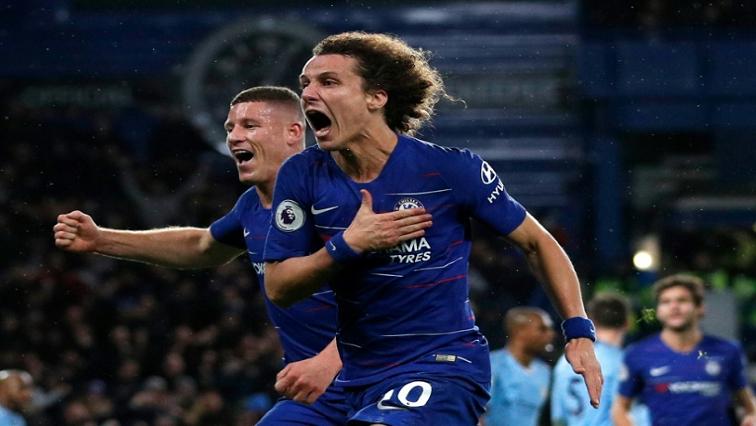 David Luiz of Chelsea celebrates after scoring.