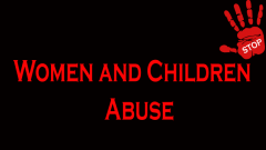 Stop women and children abuse sign
