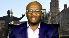 Mogajane being interviewed at the SABC Parliament studio