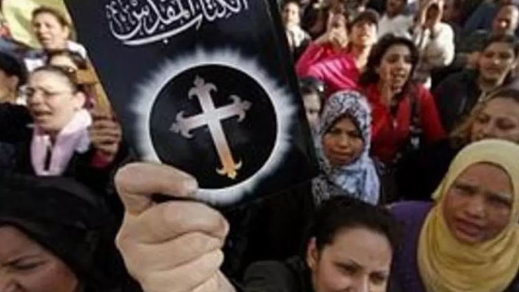 Coptic Christians protesting