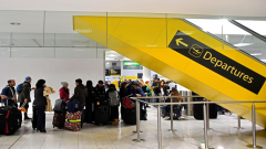 Travellers at gatwick airport