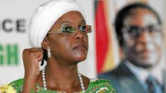 Grace Mugabe with a raised fist