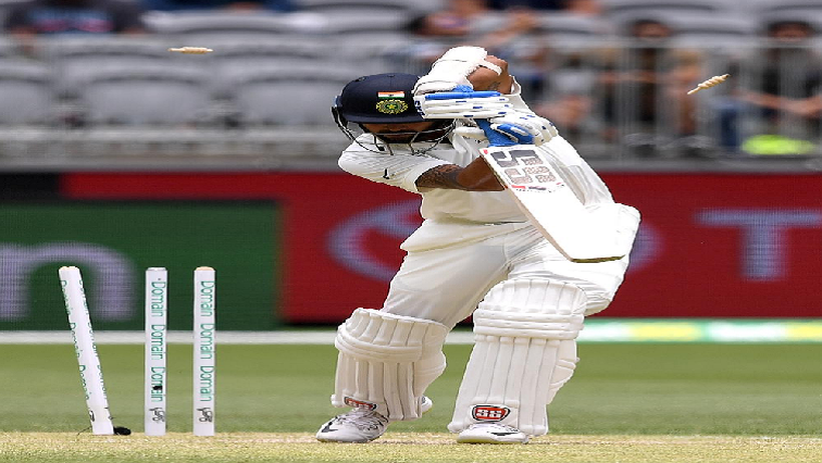 India's Murali Vijay is bowled out