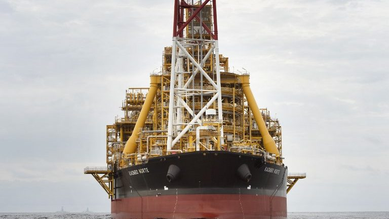 The Kaombo Norte, an oil tanker converted into a FPSO vessel, owned by the French Total oil company.