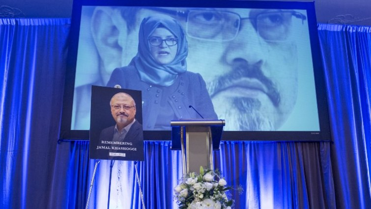 Pictures of Khashoggi at his memorial service