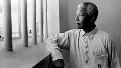 An image of Nelson Mandela in prison.