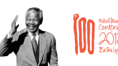Black and white image of Nelson Mandela