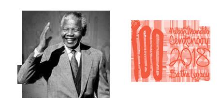 Black and white image of Nelson Mandela