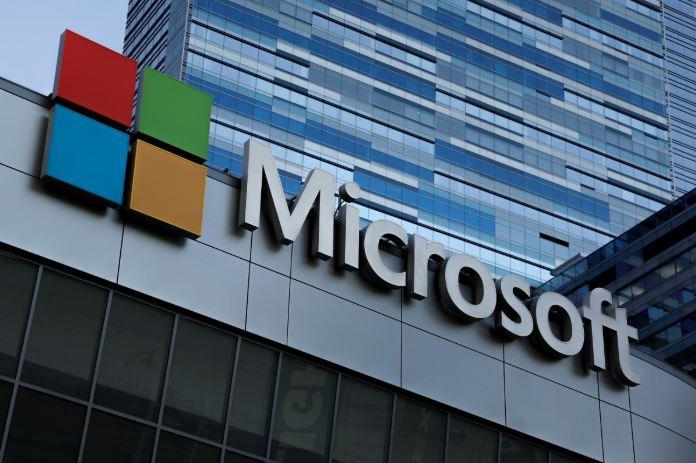 Microsoft logo at Microsoft pffices