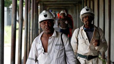 Workers walking in a line