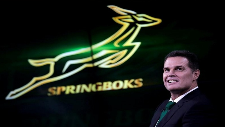Rassie Erasmus in front of Springboks logo