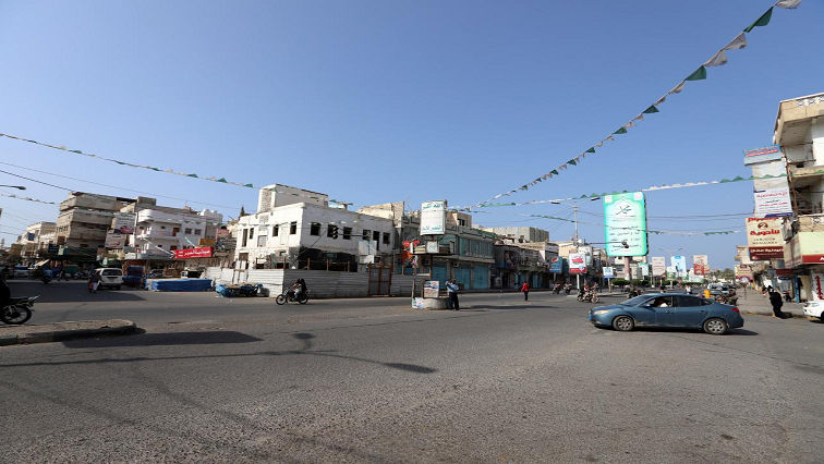 View of a street in the Red Sea city of Hodeidah,
