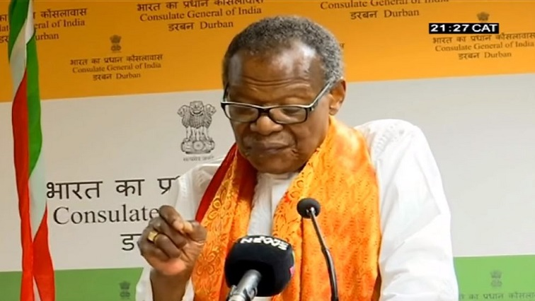 Mangosuthu Buthelezi speaking at the Indian Consulate in Durban