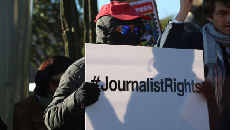 Journalist protesting