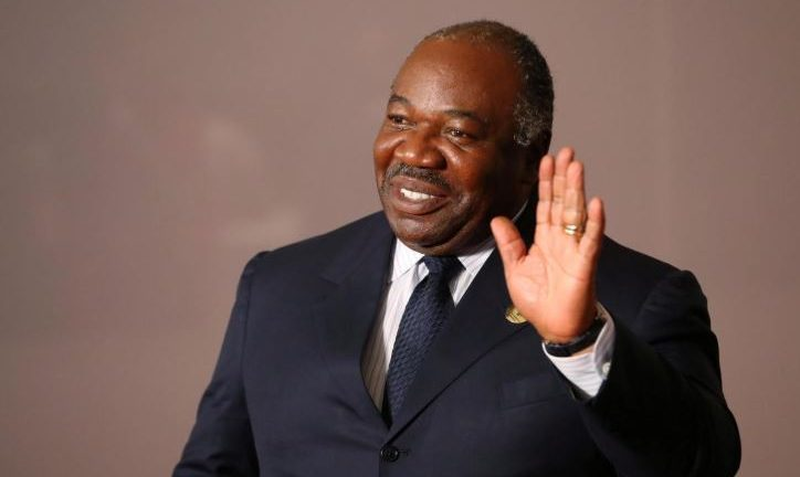 Gabonese President Ali Bongo Ondimba arrives for a group picture at the BRICS summit meeting in Johannesburg.