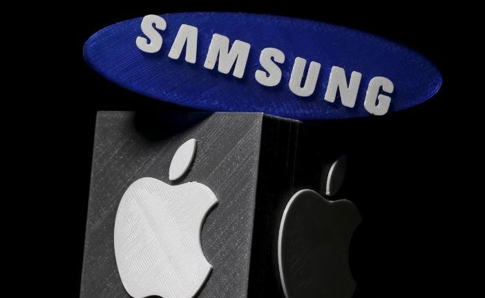 3D-printed Samsung and Apple logos are seen in this picture illustration.