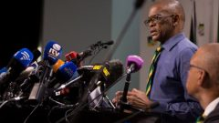 African National Congress (ANC) Secretary-General Ace Magashule and members of the ANC National Executive Committee address a media.