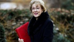 Britain's Conservative Party's leader of the House of Commons Andrea Leadsom arrives at Downing Street in London.