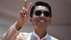 Madagascar Presidential candidate Andry Rajoelina salutes his supporters during a campaign rally at the Coliseum stadium in Antananarivo, Madagascar November 3, 2018.