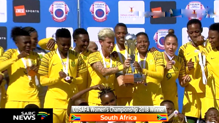 Banyana Banyana celebrate winning the 2018 COSAFA Cup