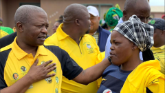 David Mabuza surrounded by party supporters.