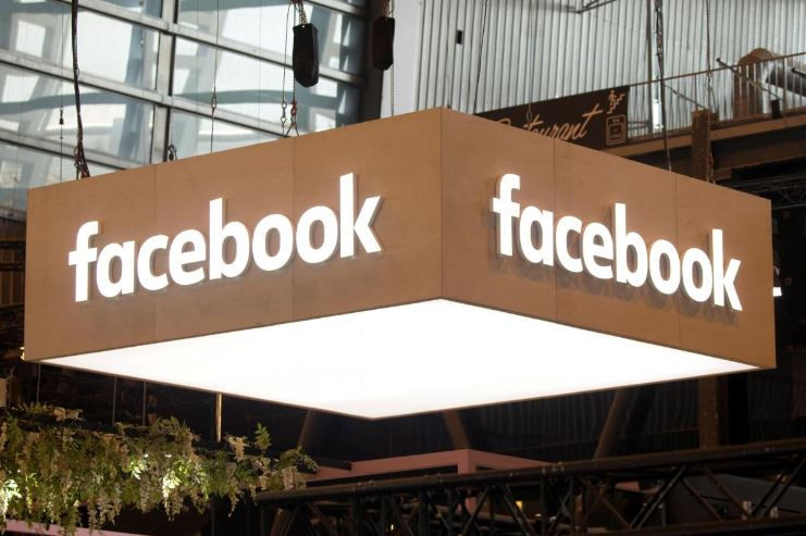 The logo of Facebook is pictured during the Viva Tech start-up and technology summit in Paris.