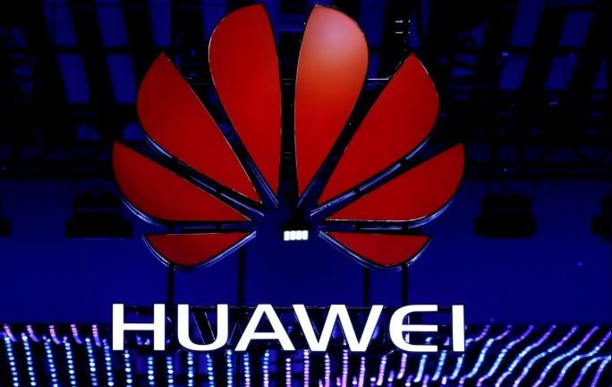 The Huawei logo is seen during the Mobile World Congress.