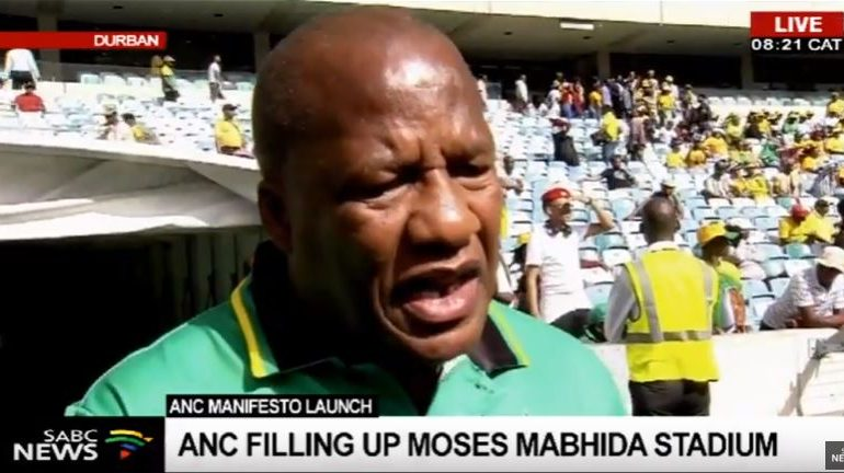 Jackson Mthembu at the Moses Mabhida stadium during the launch of the manifesto.