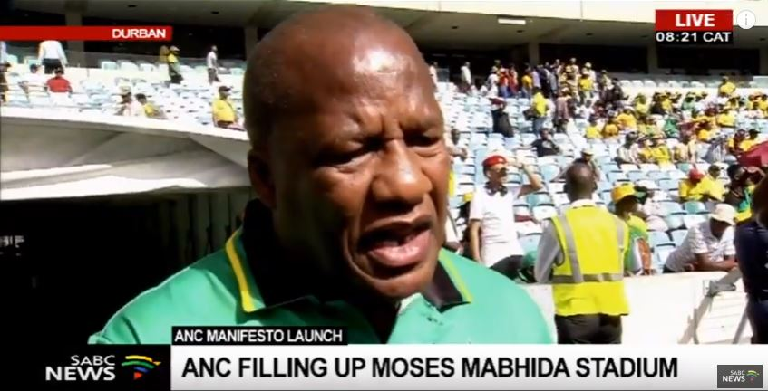 Jackson Mthembu at the Moses Mabhida stadium during the launch of the manifesto.